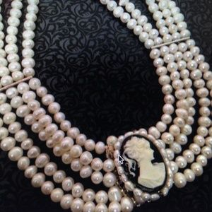 Reversible Cameo-Rhinestones Real Pearl Necklace